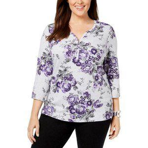 Women's Floral Printed Split Neck Blouse Top Shirt